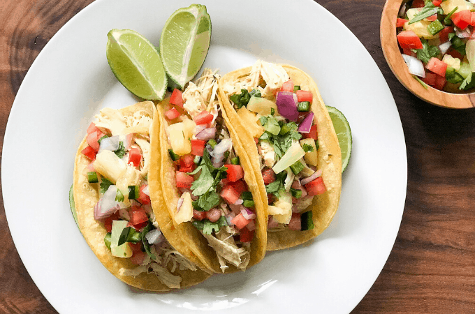 Instant Pot Jerk Chicken Tacos with Pineapple Salsa