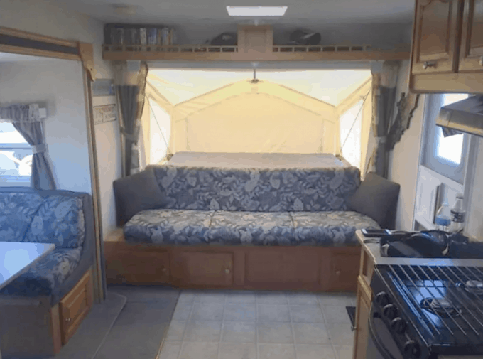 Inside a pop-up camper rental