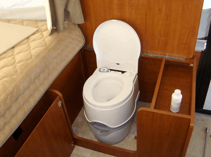 Pop-up camper rentals with a toilet