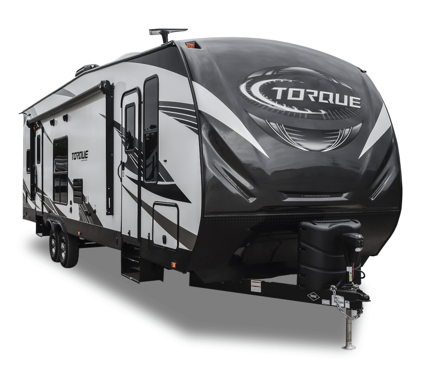toy hauler travel trailer by Torque