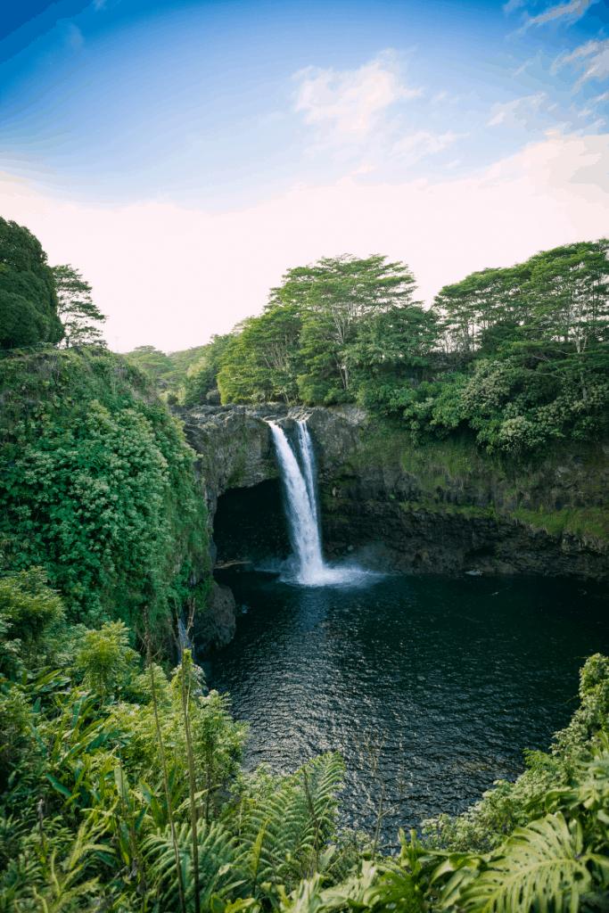 Rainbow falls on the Big Island of Hawaii