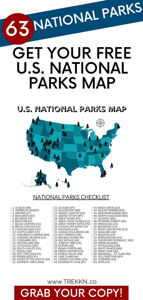 2021 updated U.S. National Parks Map Printable