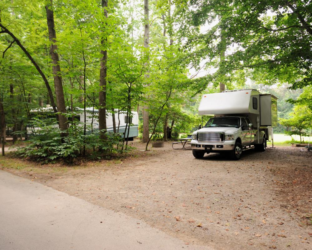 truck camper in rv park