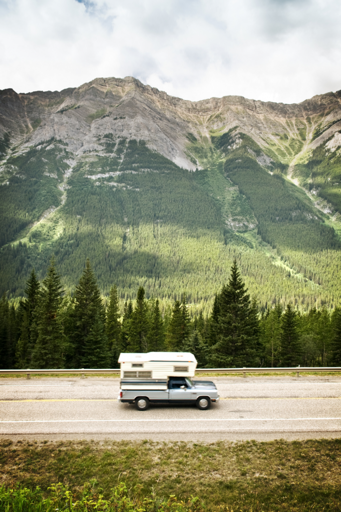 truck camper in the mountains