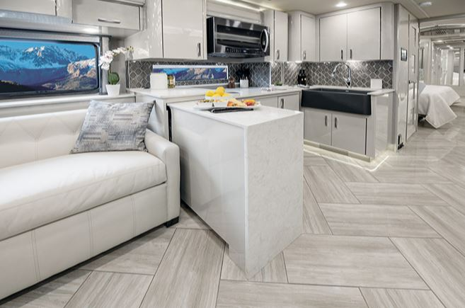 American Eagle Luxury RV Kitchen with Mindful Gray Finish