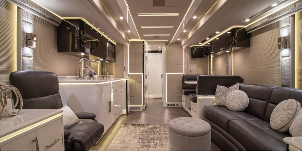 Prevost Emerald RV living, dining and kitchen