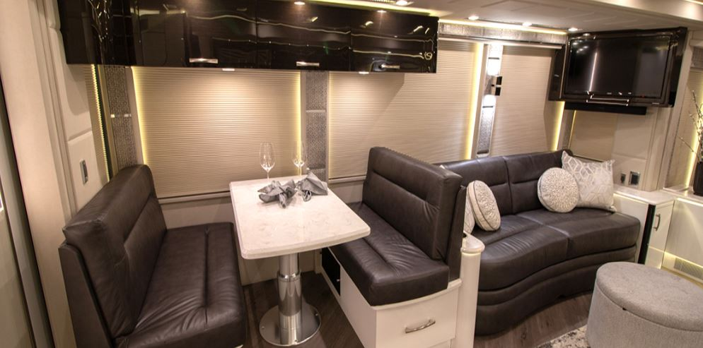 Prevost Emerald RV Dining and Living Areas