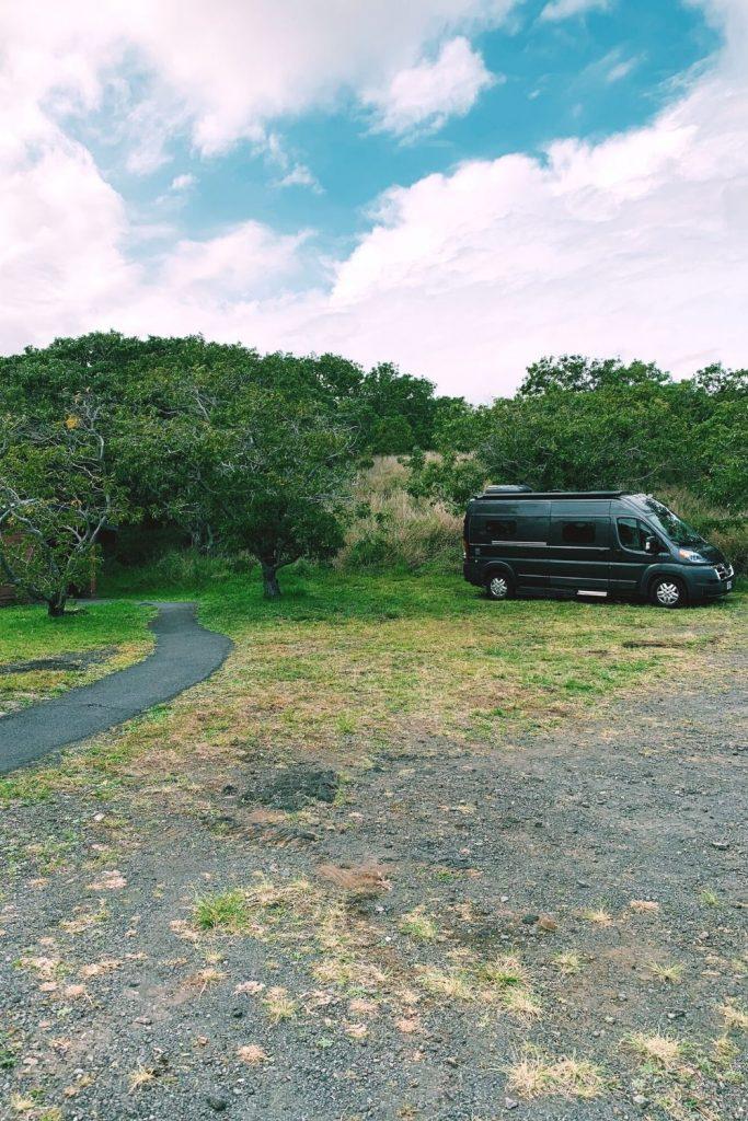 van camping in hawaii volcanoes national park