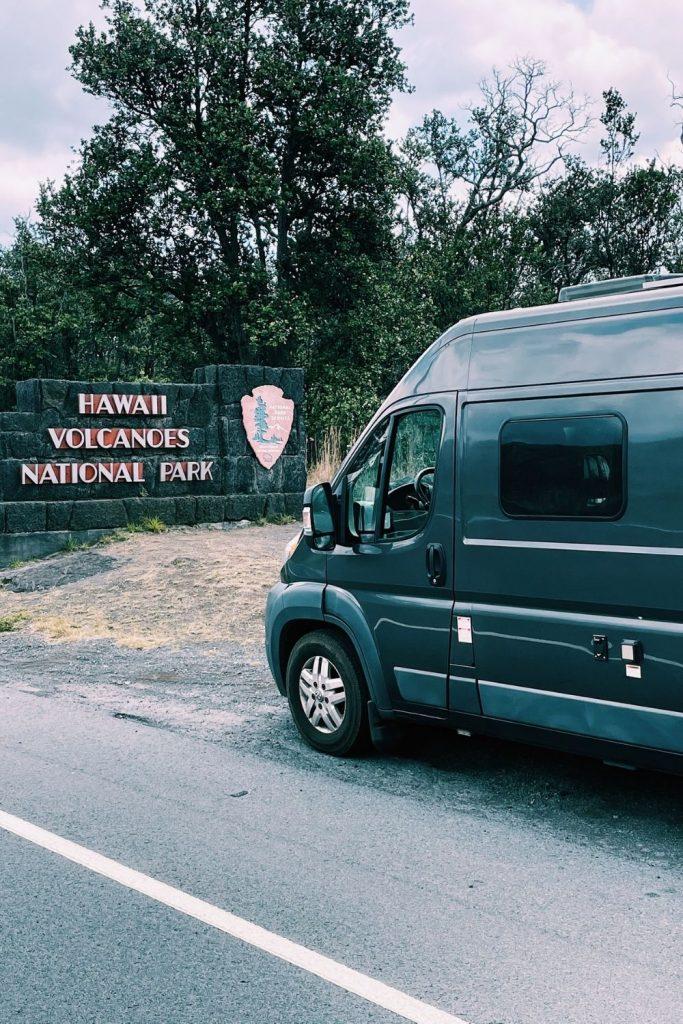 visiting Hawaii Volcanoes National Park in a campervan