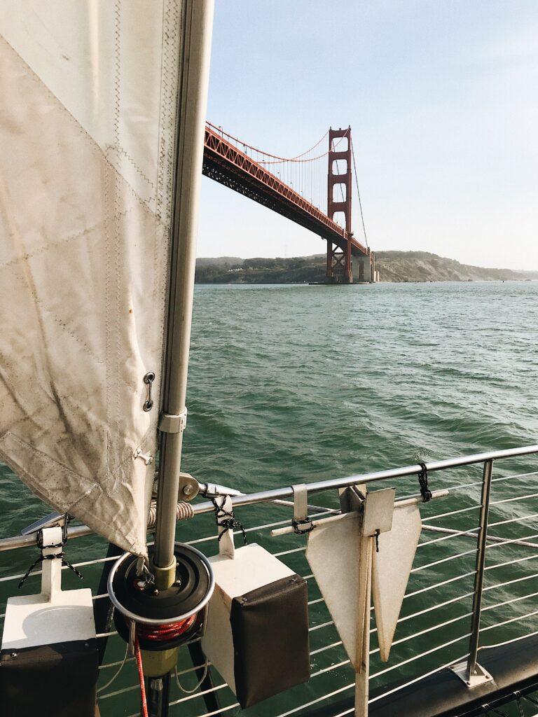 sailing under the San Francisco bridge on a gap year trip