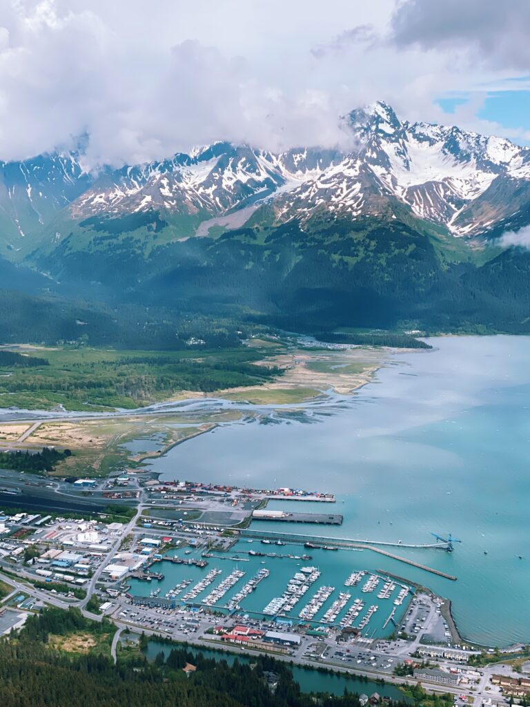a view from above of kenai fjords national park