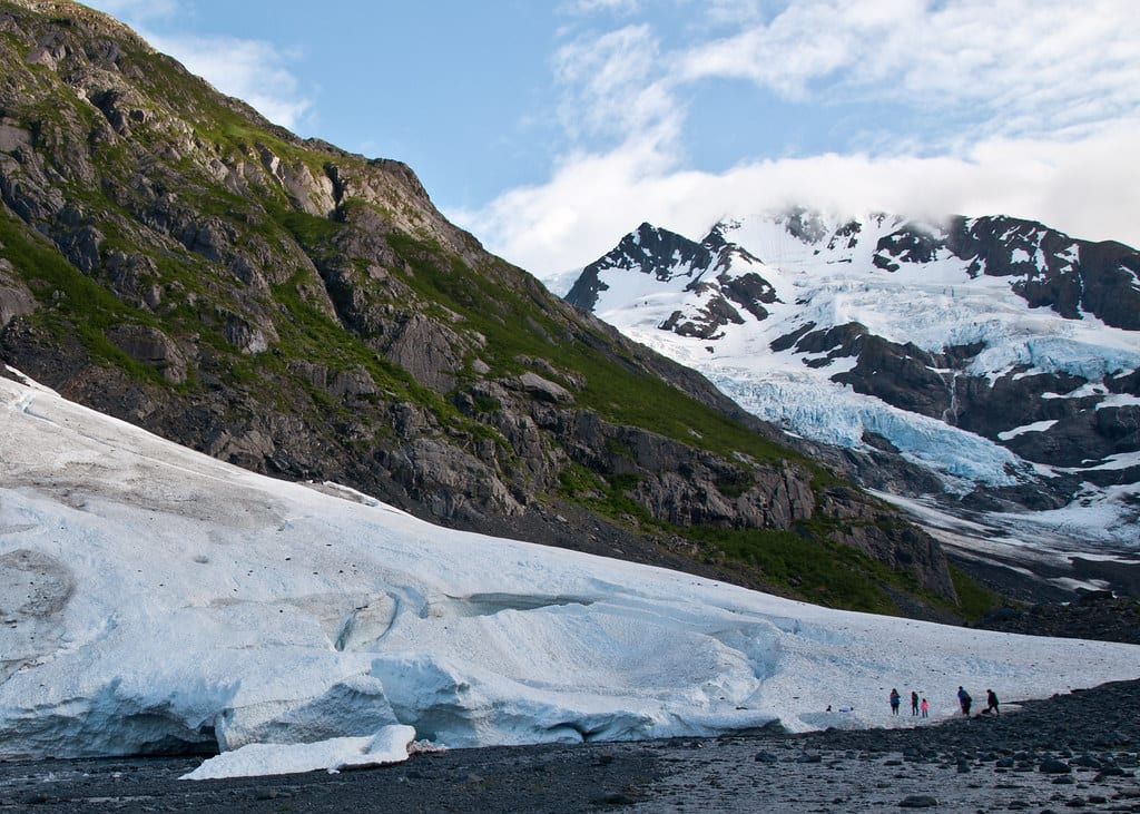 a view of the byron glacier in Alaska