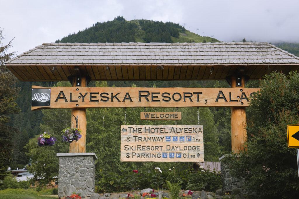 Alyeska Resort Sign in Alaska