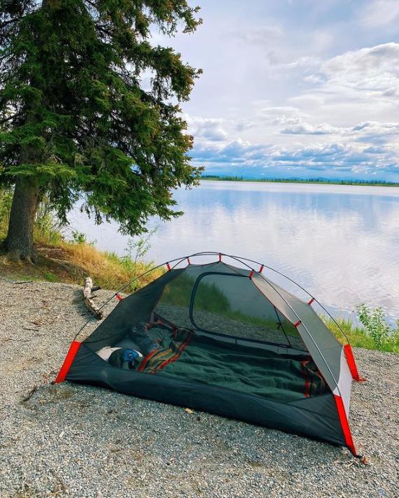 tent set up in Seward Alaska
